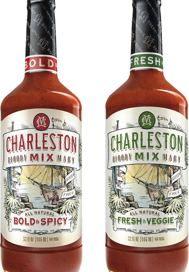 image of two bottles of Charleston Mix. Bold and Spicy and Fresh and Veggie flavors