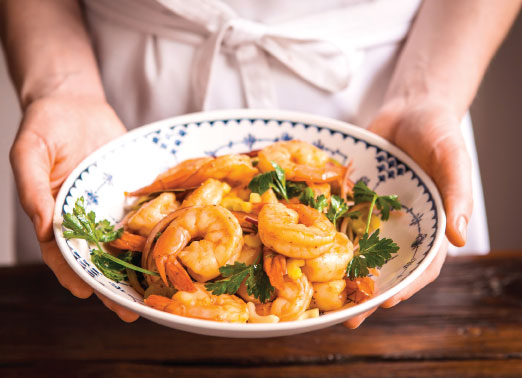 Image of a bowl of pickled shrimp