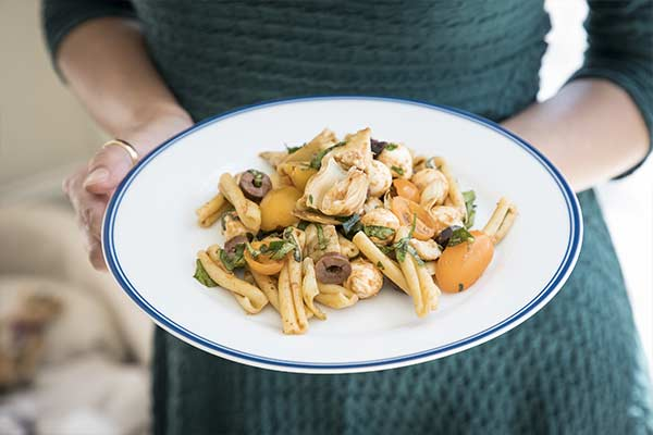 Image of a plate of pasta made with Charleston Mix